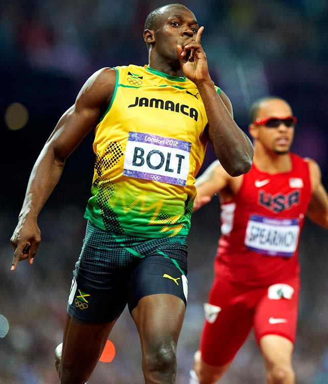 "Four years after electrifying the world with world records and a cocky but delightful self-assurance, Usain Bolt repeated as champion in both events. Bolt became the first sprinter to repeat in both as well as the first sprinter to repeat in the 200. Bolt had told the press all week that he would win both events, and after his victories he labeled himself ""the greatest athlete to live."""