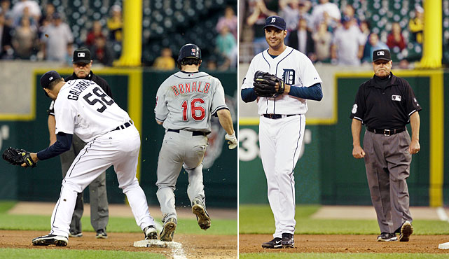 In what SI's Tom Verducci called the most heartbreaking missed call in baseball history, Tigers pitcher Armando Galarraga had just thrown the 21st perfect game in baseball history when Miguel Cabrera threw to him covering first base on a grounder by Jason Donald for the 27th out. Cabrera celebrated. Only one thing was missing. Joyce called Donald safe, badly missing a call he'd admit botching afterward.