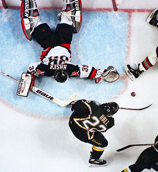 "In the annals of Buffalo's snakebitten sports history, the play dubbed ""No Goal"" is near the top: Stars forward Brett Hull, with his foot clearly in the crease, was credited with what may forever be the most controversial goal in Stanley Cup history. It came in triple-overtime in Game 6 of the 1999 finals, and ended the series. That year it was illegal to score a goal if an offensive player's skate entered the crease before the puck did."