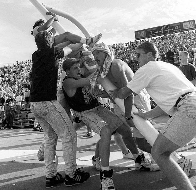 The Buffs took full advantage when the officials lost track and gave Colorado an additional down against Big Eight rival Missouri, scoring a touchdown on the last play of the game to eke out a 33-31 victory. The result cast doubt on the Buffs' claim to the 1990 national championship, which they shared with Georgia Tech.