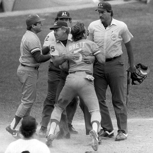 In the top of the ninth inning with two outs in a regular-season game between the Royals and Yankees, George Brett hit a two-run homer to put Kansas City ahead 5-4. But New York manager Billy Martin cited to the umpires a rule that read that any foreign substance on a bat could extend no further than 18 inches from the knob. The umpires measured the amount of pine tar on Brett's bat, then signaled Brett out, prompting a furious outburst from the future Hall of Famer. The Royals' protest of the result was upheld, and Kansas City went on to win the game after it was resumed from the point of Brett's home run.