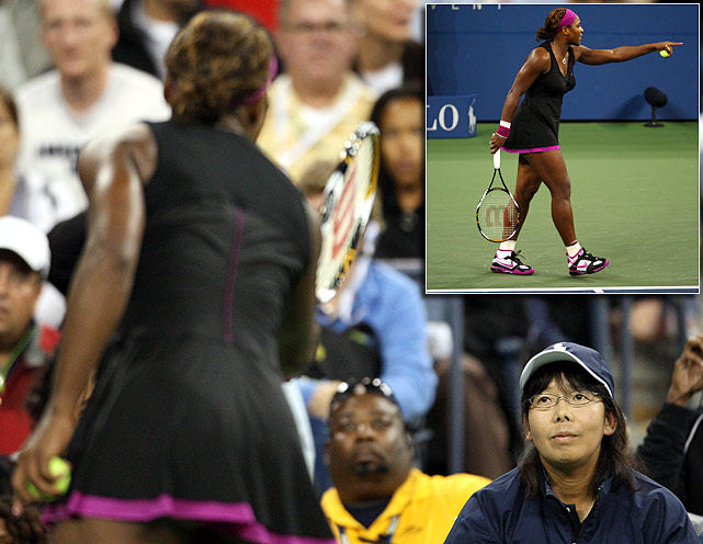 In a bizarre finish to a closely contested U.S. Open women's semifinal in 2009, Serena Williams was called for a foot fault on a second serve while trailing Kim Clijsters, 4-6, 5-6, 15-30. The call gave Clijsters a match point. Williams disagreed, angrily confronting the lineswoman who made the call. After a discussion between Williams, the lineswoman, the chair umpire and the tournament referee, it was ruled that Williams' outburst earns her a code violation. The code violation was Williams' second of the match and results in a point penalty that handed Clijsters the game and, with it, the set and the match.