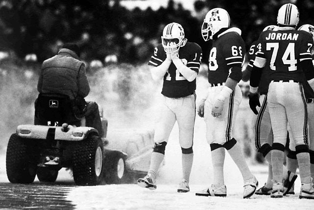 Foxborough Stadium snowplow operator Mark Henderson, a convicted burglar on work release from prison, literally cleared the way (or a path) for New England's 3-0 victory in a regular-season game on Dec. 12, 1982. Amid snowy conditions, Patriots coach Ron Meyer ordered Henderson to plow a spot on the field where kicker John Smith made a 33-yard game-winning field goal, prompting outcry from Dolphins coach Don Shula in the aftermath.