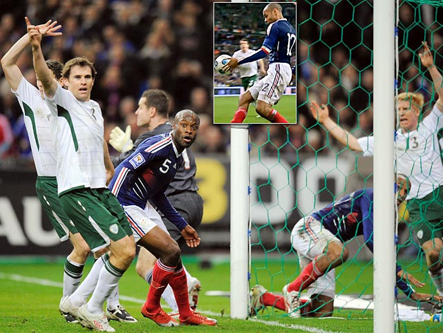 A blatant handball by Thierry Henry in extra time of a World Cup playoff between France and Ireland led to William Gallas' tying goal that eliminated the Irish from South Africa 2010.