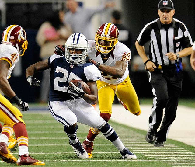 The Redskins cornerback was fined $20,000 for a horse-collar tackle and $15,750 for a late hit during the Thanksgiving Day game against the Cowboys in Week 12.  Hall was not penalized for either play during the 38-31 victory.