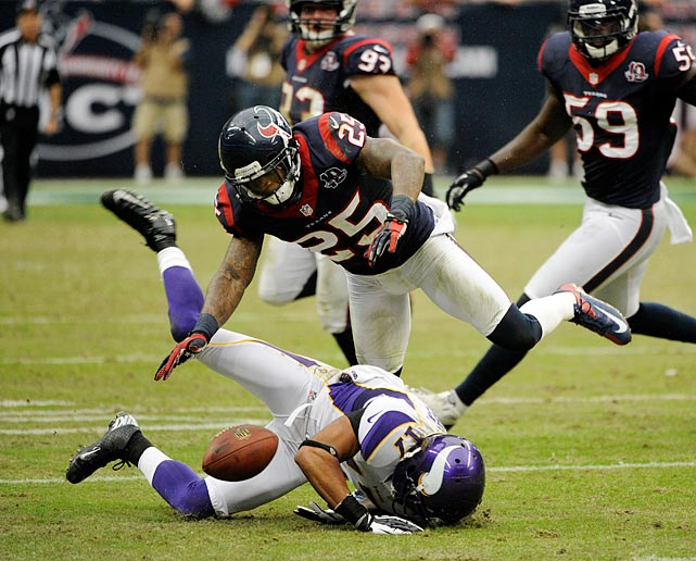 The Texans cornerback was fined $26,250 -- $21,000 for a high hit on Vikings wide receiver Jarius Wright and $5,250 for wearing his socks too high.