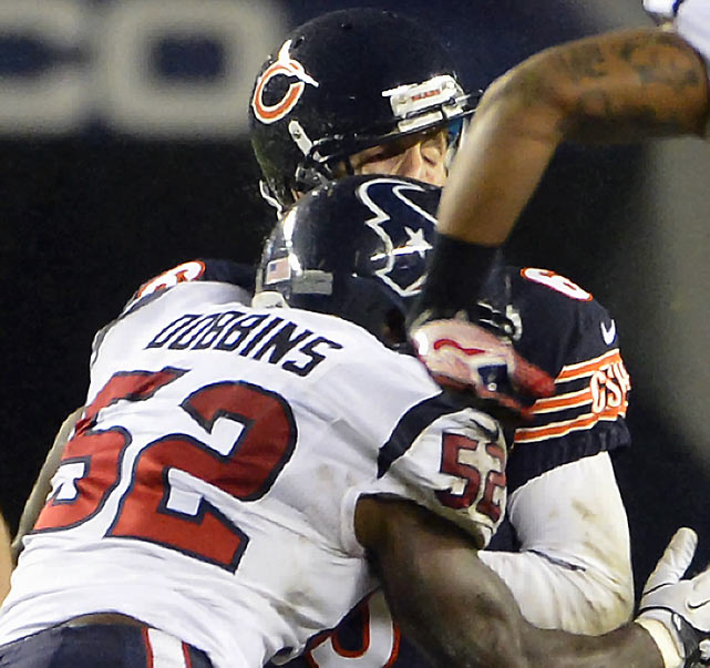 Houston linebacker Tim Dobbins drew a $30,000 fine for a high hit on Chicago quarterback Jay Cutler during the Week 10 Sunday night game. Cutler suffered a concussion on the play.