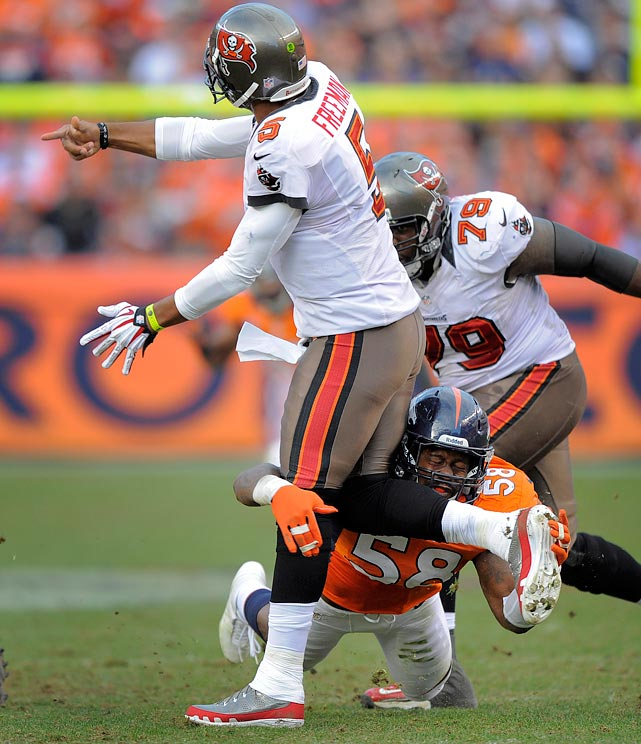 The Broncos' defensive end was fined $25,000 for his hit below the knee of Tampa Bay quarterback Josh Freeman in Week 13.  Miller was penalized for roughing the passer in the second quarter of the Broncos' 31-23 win over the Buccaneers. Miller was fined $21,000 in November for a similar infraction against Carolina quarterback Cam Newton.