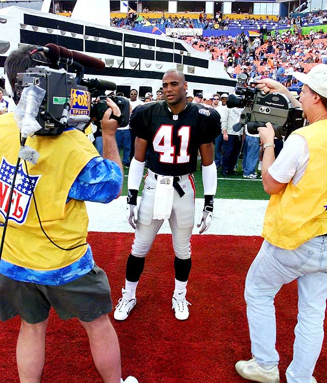 "The Super Bowl's grand stage has been the scene of some unfortunate misadventures by players, but few have been as cringe-worthy as Eugene Robinson's. The Falcons safety stood as a prime example of the kind of family man and community pillar that the NFL likes to honor and celebrate, and prior to Super Bowl XXXIII in Miami, he received the Bart Starr Award from Athletes in Action for ""high moral character."" The night before the game, Robinson left his wife in the team's hotel and was arrested in a seedy neighborhood for allegedly soliciting a lady of the night who turned out to be an undercover cop. 'Guys had been going there all week,'' a Falcon told  The New York Times . ''It's just that Eugene was the only one who got caught.''"