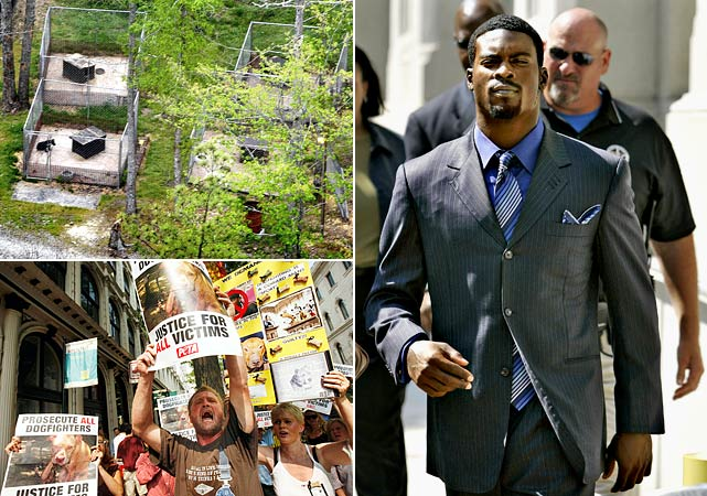 The public perception that many NFL players were out of control (see: Pacman Jones) reached a horrifying level in July 2007 when Atlanta's star quarterback Michael Vick was hit with a federal indictment for his involvement in an illegal dogfighting operation on his property in Virginia.  Amid stories of bloodcurdling animal cruelty at his Bad Newz Kennels, Vick was released by the Falcons and pleaded guilty as dog lovers and animal rights activists protested. Suspended indefinitely by Roger Goodell, and sentenced to one-to-five years in federal prison, Vick was released after 19 months and later allowed to sign with Philadelphia, a development that did not meet with universal applause.