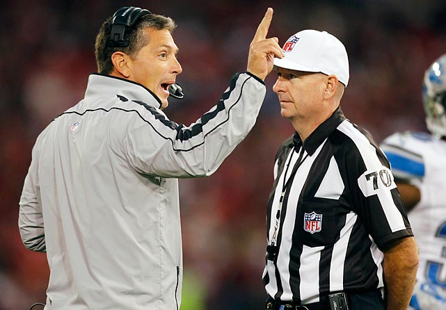 Detroit head coach Jim Schwartz argues his case to referee Richard Nicks during the Lions' loss to the 49ers.
