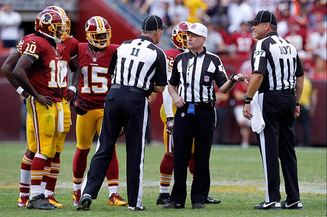 "Late in the Bengals/Redskins game, Robert Griffin III was sacked for a 15-yard loss. Then he spiked the ball with 7 seconds left. Then tight end Fred Davis was called for a false start. Then coach Marvin Lewis and the Bengals, anticipating a 10-second runoff, thought the game was over and walked onto the field en masse. Then an official called an unsportsmanlike conduct penalty on a livid Redskins sideline.  Then the officials mistakenly marked off a total of 25 yards for the two penalties, instead of 20.  ""They threw the flag at us - and there was half of the (Bengals) football team on the field,'' Mike Shanahan said. ""I was disappointed in that.''"