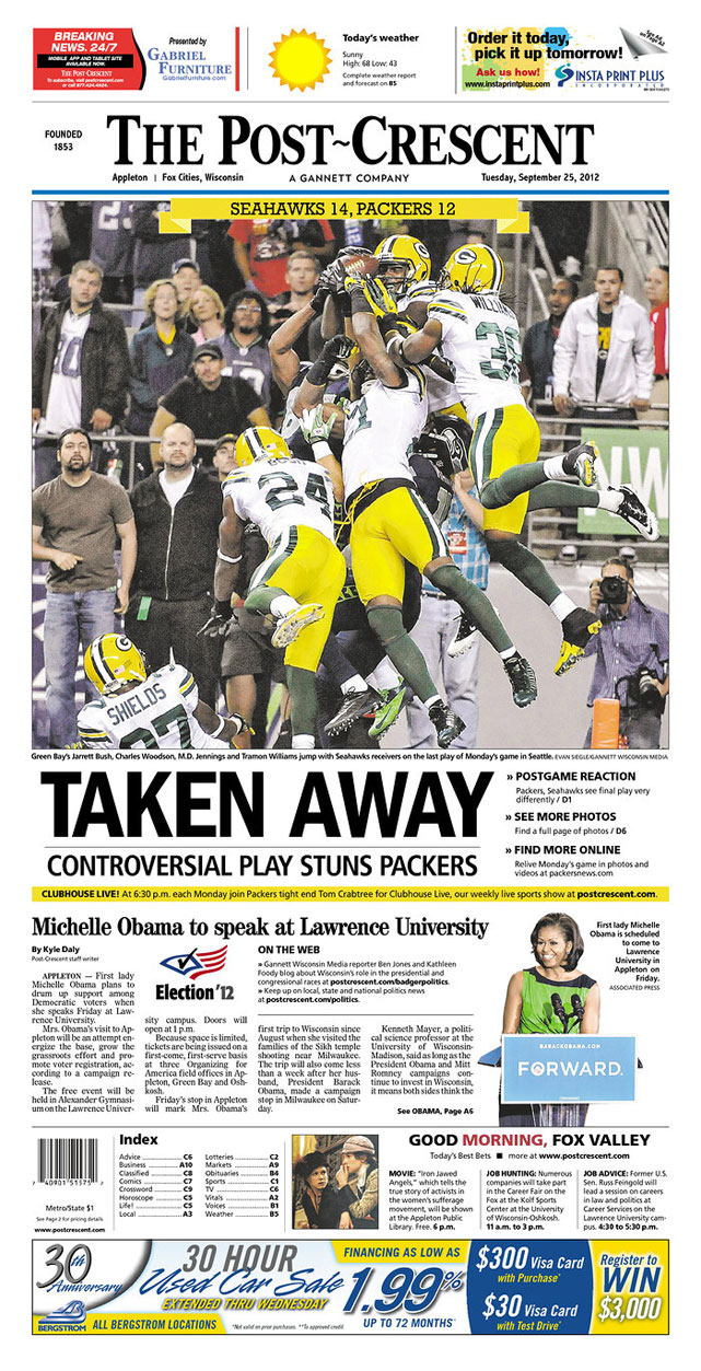 Here's a look at how the controversial ending of Monday's Packers-Seahawks game was treated on the front pages of Tuesday's first editions in Wisconsin and Washington.