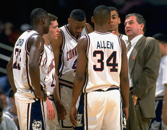 Jim Calhoun sent 27 players to the NBA, including Ray Allen (34) and Donyell Marshall (center).