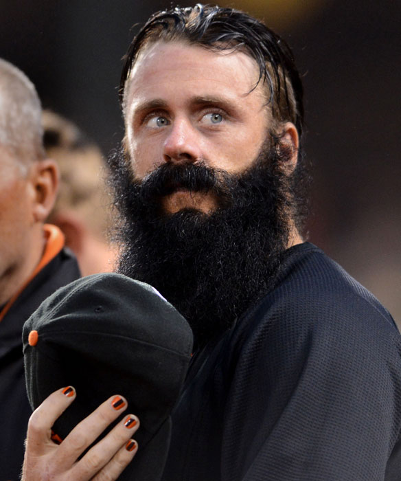 Giants closer Brian Wilson sports a team-colored manicure before the start of  a game against the Diamondbacks earlier this week.