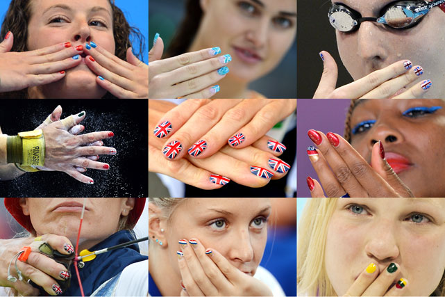 A combination of pictures taken during the 2012 Olympic Games shows athletes' fingernails decorated with their national colors.   (from top left): USA's Allison Schmitt, Hungary's Suzana Jacobos, Britain's Rebecca Adlington, Mexico's Luz Mercedes Acosta Valdez, Britain's Alison Williamson, USA's Venus Williams, Britain's Alison Williamson, France's Margaux Farrell, Lithuania's Ruta Meilutyte.
