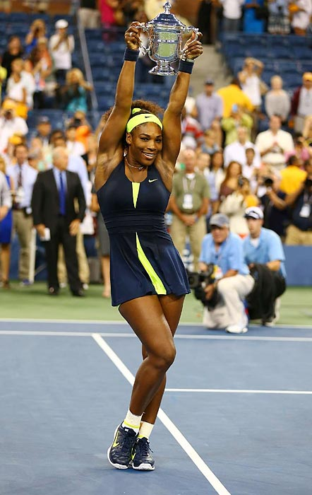 The No. 4 seed was the favorite coming into the U.S. Open after sweeping Wimbledon and the Olympics, and she rolled into the final without dropping set. There she met one of the best hardcourt players of the season in world No. 1 Victoria Azarenka, and the two engaged in a battle of aggressive shotmaking and counterpunching that Serena would win 6-2, 2-6, 7-5. The win marked Serena's fourth U.S. Open title and 15th overall Grand Slam title.