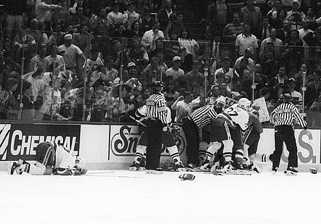 After winning three straight overtime games in their division sem-final series, the Islanders eliminate the Capitals in six with a 5-3 victory. Pierre Turgeon caps the win with an empty-net goal off a turnover by Washington forward Dale Hunter. The Caps' captain then takes out his frustration by shoulder-checking Turgeon into the boards long after the play ended. Steve Thomas leads the charge of Isles piling on Hunter, who receives a then-record 21-game suspension for his gratuitous hit. Turgeon suffers a separated shoulder and misses the next round, which the Isles win by beating Pittsburgh in seven.