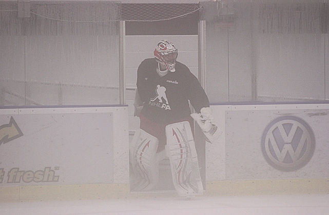 The journeyman goaltender, now with the Carolina Hurricanes, joined his former teammates for the skate. Boucher played two stints with the Flyers (1999-2002 and 2009-11).