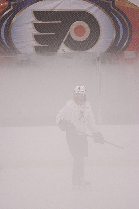 The Flyers winger was a spectral figure in the gloom.