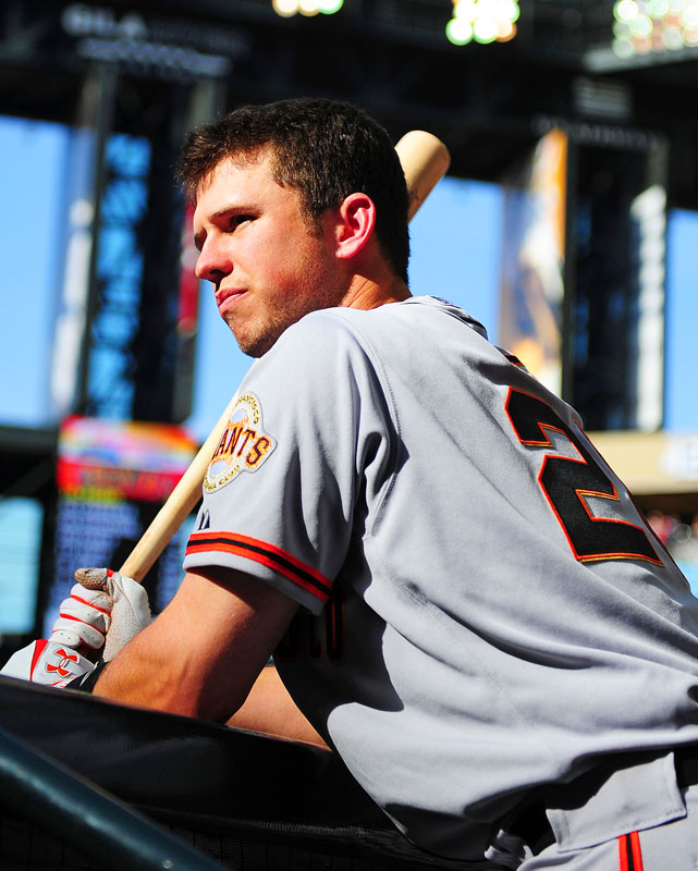 After missing most of 2011 with a broken leg, Buster Posey was back in the lineup for the 2012 season opener against the Diamondbacks. Despite a 5-4 loss, Posey finished with two hits and walk. He finished the season with an NL-best .336 average, 24 HR, 103 RBI and won the NL Comeback Player of the Year.