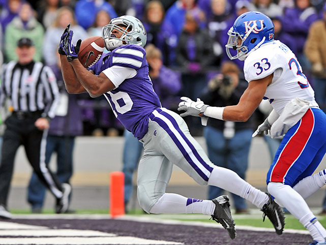 Coming off a bye week, Kansas State looked fully rested against Kansas Saturday. Collin Klein tallied 245 total yards and four touchdowns, running back John Hubert scampered for 101 yards and four scores and the Wildcats pummeled the Jayhawks in Manhattan. The K-State defense forced five turnovers, and targets Travis Tannahill and Tyler Lockett (pictured) both hauled in touchdown receptions in the win.