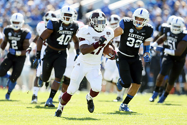 Mississippi State started quickly and never slowed down at Kentucky, as the Bulldogs topped the Wildcats on the road to improve to 5-0. Quarterback Tyler Russell completed 23-of-39 passes for 273 yards and two touchdowns, and running back LaDarius Perkins (pictured) rushed for 110 yards and a score. The defense may have been even more impressive. Mississippi State limited Kentucky to 228 yards, an average of just 3.73 yards per play.