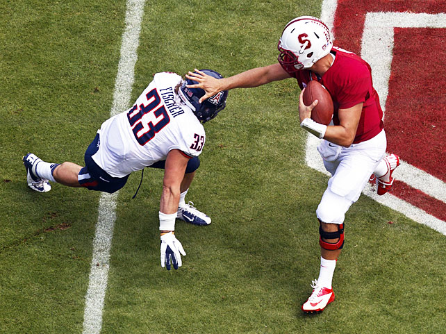 On the verge of a second consecutive loss, Stanford pulled together to rally for a comeback victory over Arizona. Josh Nunes (pictured) passed for 360 yards and two touchdowns, Stepfan Taylor ran for 142 yards and two scores and the defense came through in the clutch, as Chase Thomas intercepted a tipped Matt Scott pass on the first possession of overtime. Scott completed an Arizona-record 45-of-69 passes in defeat, but he was unable to prevent the Cardinal from storming back from a 14-point fourth-quarter deficit.
