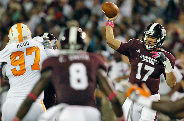 Tyler Russell threw for 291 yards and two touchdowns, LaDarius Perkins added 101 rushing yards and a touchdown for Mississippi State, (6-0, 3-0 Southeastern Conference) which continues its best start since 1999. The Bulldogs led 27-14 at halftime, but the Volunteers rallied to cut the margin to 34-31 by midway through the fourth quarter. Russell sealed the win with a 9-yard pass to Malcolm Johnson with nine seconds remaining. The junior quarterback completed 23 of 37 passes and set career highs in completions, attempts and passing yards.