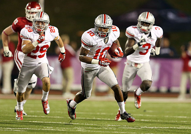 The Hoosiers scored two touchdowns in the final two minutes, but Ohio State held on to improve to 7-0. Braxton Miller was typically brilliant -- passing for 211 yards, rushing for 149 yards and amassing three total touchdowns -- and Carlos Hyde added another 156 yards and a score on the ground. Corey Brown (pictured) and Devin Smith combined for three more touchdowns in the win.