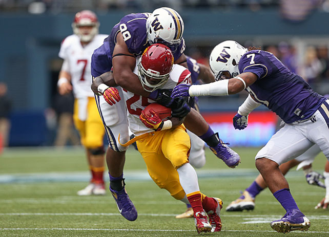 While the passing attack gets the majority of the attention at USC, the Trojans' running game did most of the damage in Saturday's win over Washington. Silas Redd (pictured) carried 26 times for 153 yards and a touchdown, and Curtis McNeal added another 11 carries for 58 yards. Matt Barkley, for his part, connected on 10-of-20 attempts for 168 yards and a score.