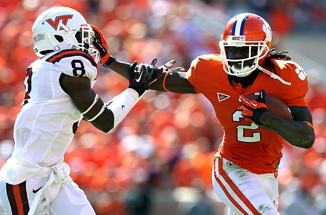 Once again, Clemson's playmakers proved too much for an opposing defense to stop. Tajh Boyd accounted for 187 total yards and three touchdowns, running back Andre Ellington rushed for 96 yards and a score and wideouts Sammy Watkins (pictured) and DeAndre Hopkins combined for 152 yards and a touchdown as the Tigers took down the Hokies. Clemson's defense also corralled three interceptions, one of which Jonathan Meeks returned 74 yards to the end zone.