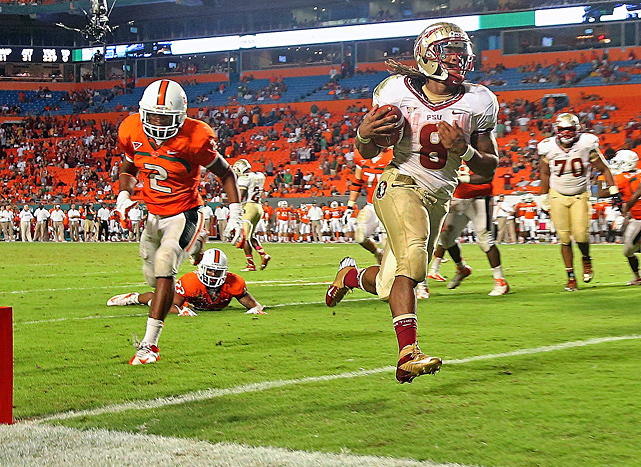 For a half, Florida State did just about everything wrong and still held the lead. And when the Seminoles finally got clicking, they simply pulled away from rival Miami. EJ Manuel threw for 229 yards, Devonta Freeman (No. 8) ran for a pair of fourth-quarter touchdowns and No. 12 Florida State overcame a shaky start to beat Miami, the Seminoles' third straight win over their archrival.