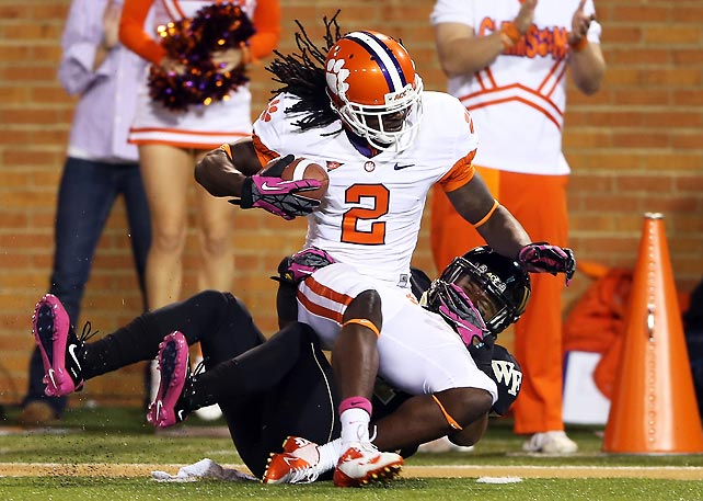 It was a record night for Clemson. Tajh Boyd threw for a school-record 428 yards with five touchdowns, while Sammy Watkins (pictured) delivered a school-record 202 receiving yards. Boyd and Watkins connected on three plays of 50 or more yards to bury the Demon Deacons and help the Tigers improve to 7-1 overall and 4-1 in the ACC.