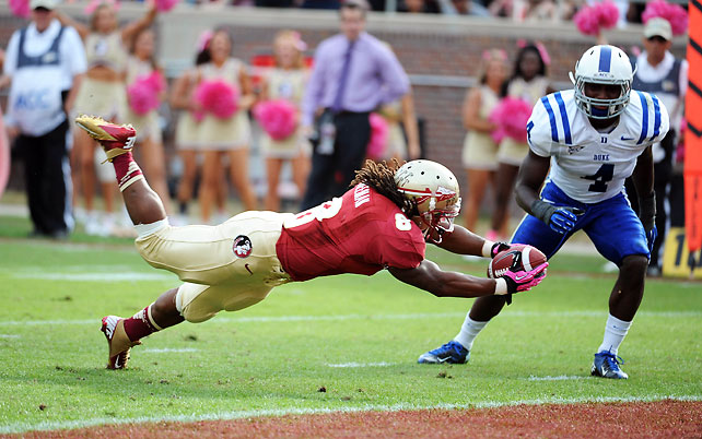 One week after beating UNC to end its bowl drought, Duke came back to earth with a lopsided loss to Florida State. Devonta Freeman (pictured) rushed 12 times for 101 yards and two touchdowns, while the Seminoles' defense held the Blue Devils to 234 net yards.