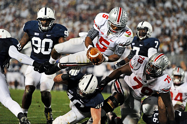 Braxton Miller (pictured) certainly looked healthy in Ohio State's showdown at Penn State. The sophomore quarterback rebounded from last week's injury to pass for 143 yards, rush for 134 yards and score three total touchdowns as the Buckeyes improved to 9-0 in the Urban Meyer era. Jake Stoneburner made a 72-yard touchdown reception and Ryan Shazier added a 17-yard pick-six.