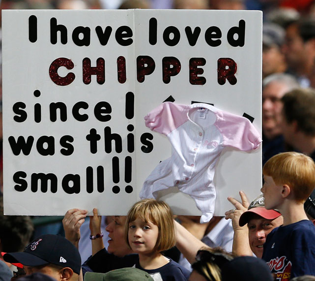 A young fan shows her lifelong allegiance to Chipper Jones.