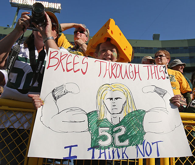 Another member of the Clay Matthews Fan Club holds up a sign in Green Bay.