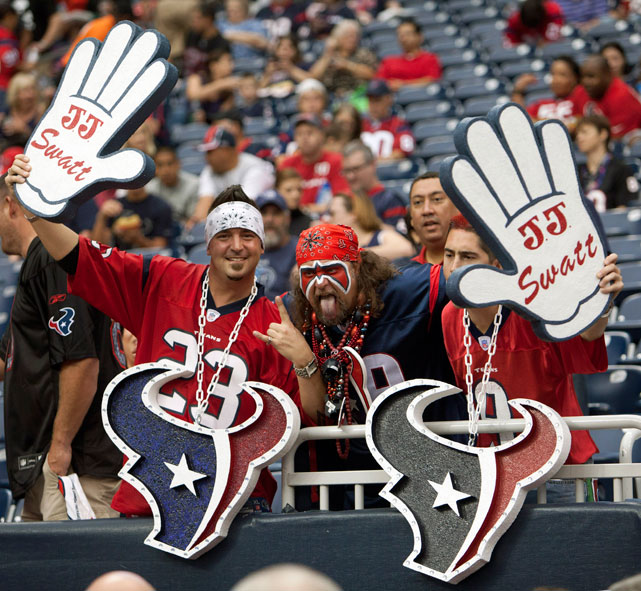 J.J. Watt has been the Defensive MVP of the season thus far, much to the delight of these Texans fans.