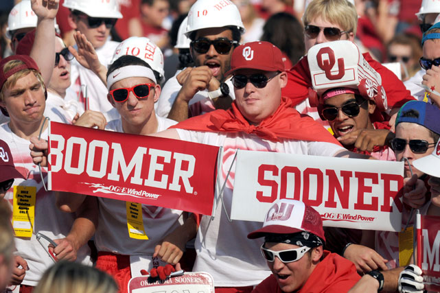 Sooners fans get amped up before a game against Kansas State.