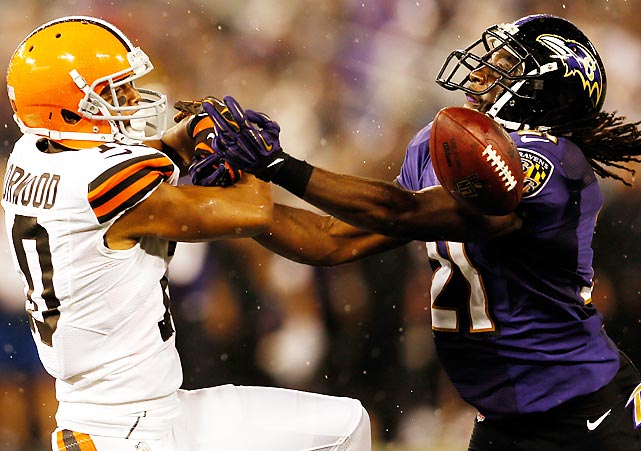 Ravens' cornerback Lardarius Webb breaks up a pass intended for Browns wide receiver Jordan Norwood of the Cleveland Browns in the third quarter of Baltimore's 23-16 win.