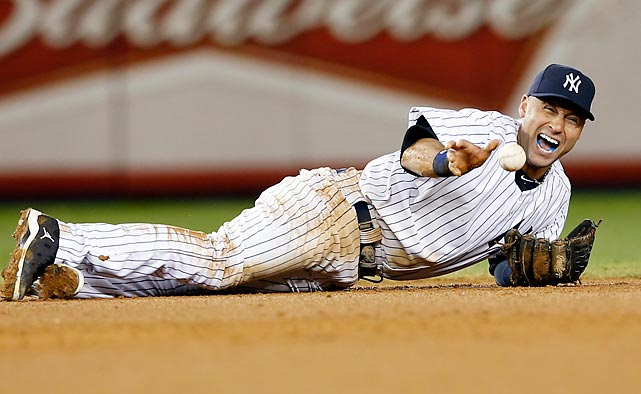 New York Yankees shortstop Derek Jeter screams as he injures himself fielding a ball hit by Detroit Tigers' Jhonny Peralta during Game 1 of the ALCS. Jeter fractured his left ankle and will miss the remainder of the postseason.