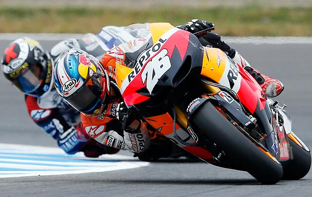Spain's Dani Pedrosa leads compatriot Jorge Lorenzo during the MotoGP Grand Prix of Japan.