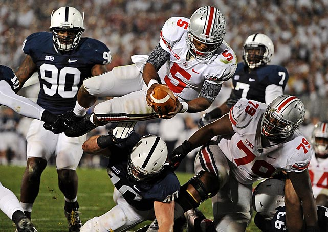 Ohio State quarterback Braxton Miller dives into the end zone for a touchdown against Penn State on Oct. 27. It was one of five touchdowns the Buckeyes scored in their 35-23 victory.