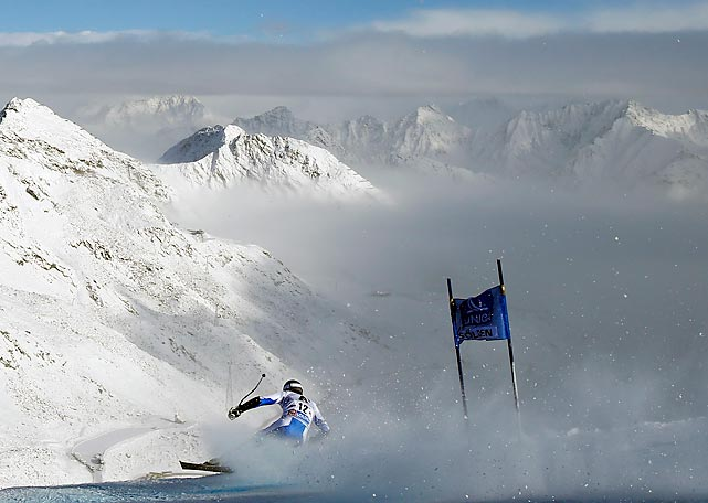 Thomas Fanara of France competes in the World Cup Soelden Giant Slalom race on the Rettenbach glacier in Soelden, Austria.