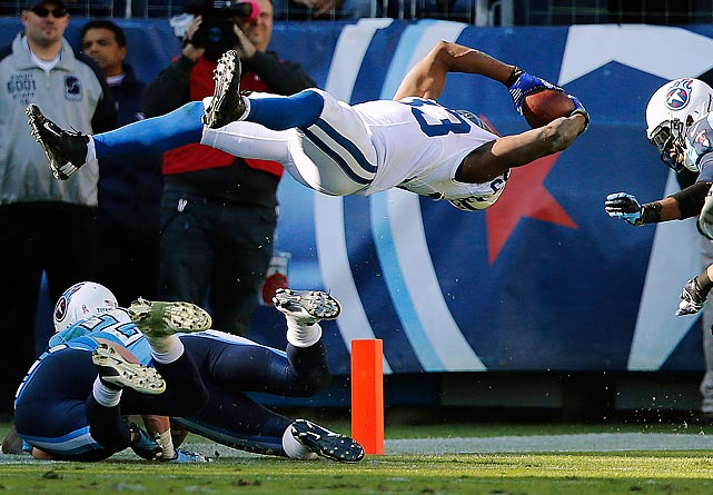 Colts running back Vick Ballard  dives across for a game-winning touchdown in overtime against the Titans. The Colts won 19-13.