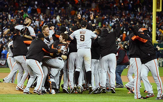 The Giants celebrate after sweeping the Tigers and winning their second World Series in three years.