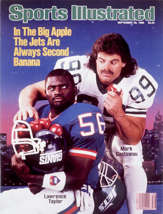 Gastineau and Lawrence Taylor, two of the most popular New York athletes at the time, pose for a 1986 SI cover.
