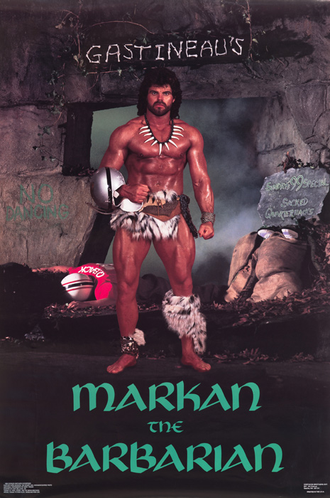 "Gastineau stars as ""Markan the Barbarian"" in this famous '80s poster."