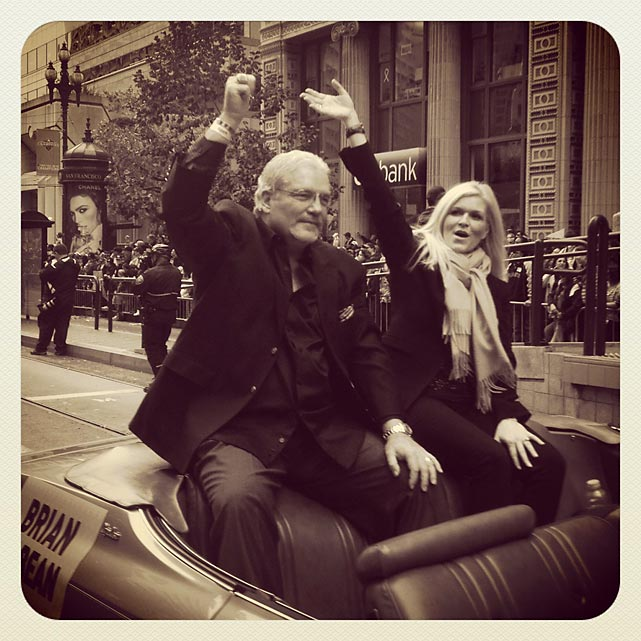GM Brian Sabian and his wife at today's Giants parade in SanFrancisco.
